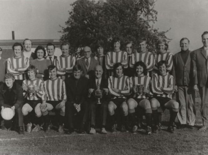 Frank, centre, with his 1971-2 treble-winning team