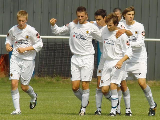 Celebrating the Pilgrims' first goal by Liam Parker