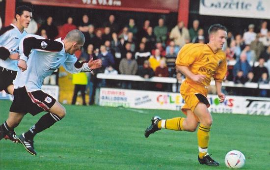 Lee Thompson leaves the Darlington defence trailing in his wake