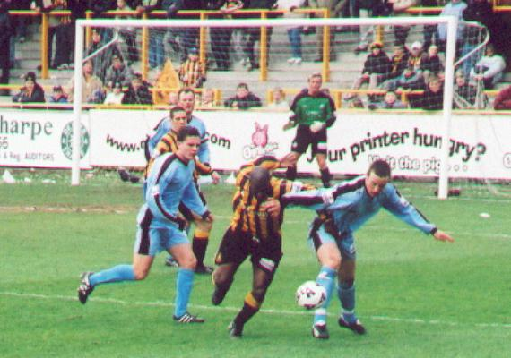 Mickey Brown battles for the ball