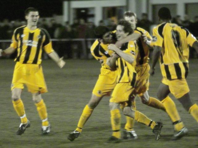 Danny Sleath celebrates scoring
