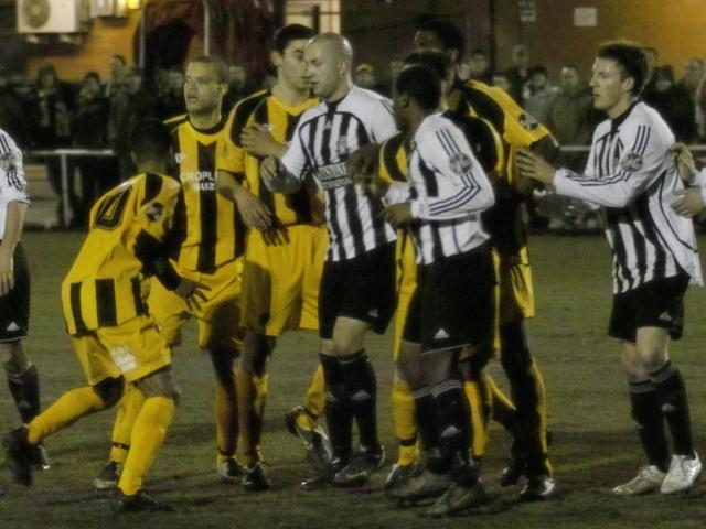 Jostling before a free-kick
