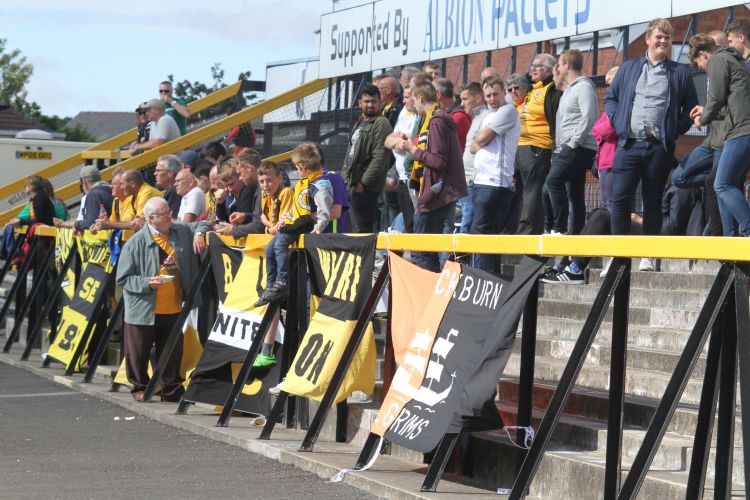 The away end at half-time
