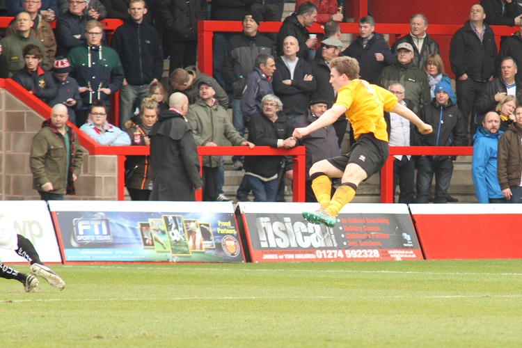 Dayle Southwell scores his 50th goal for Boston United
