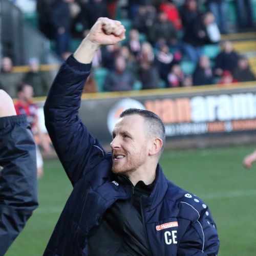 Craig Elliott celebrates the win